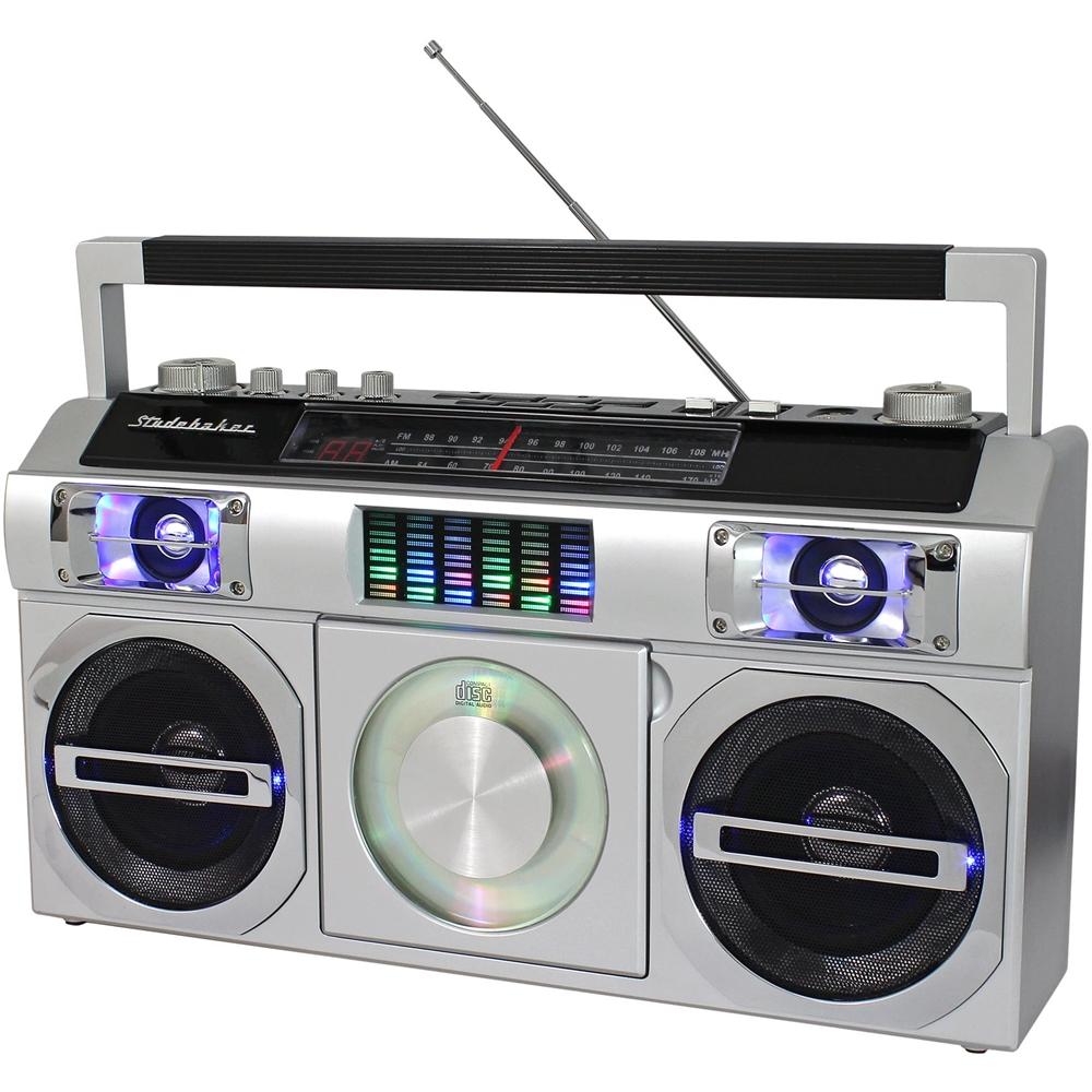hight resolution of studebaker master blaster cd rw cd r cd da boombox with am fm radio silver sb2149s best buy
