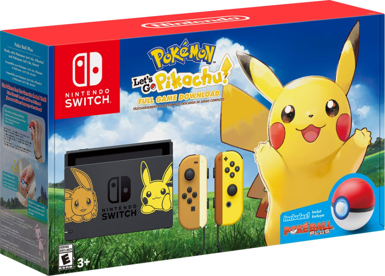 Best Buy: Nintendo Switch Pikachu & Eevee Edition with Pokémon: Let's Go, Pikachu! + Poké Ball Plus Gray HACSKFALF