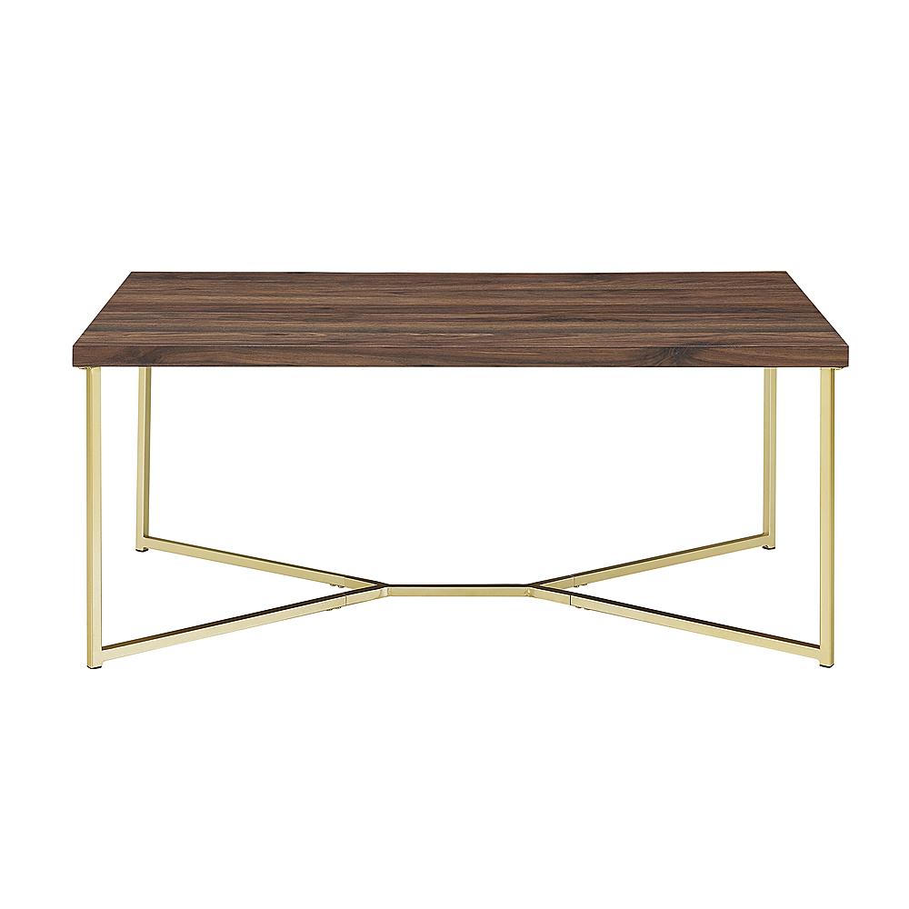 walker edison luxe mid century modern y leg coffee table dark walnut gold