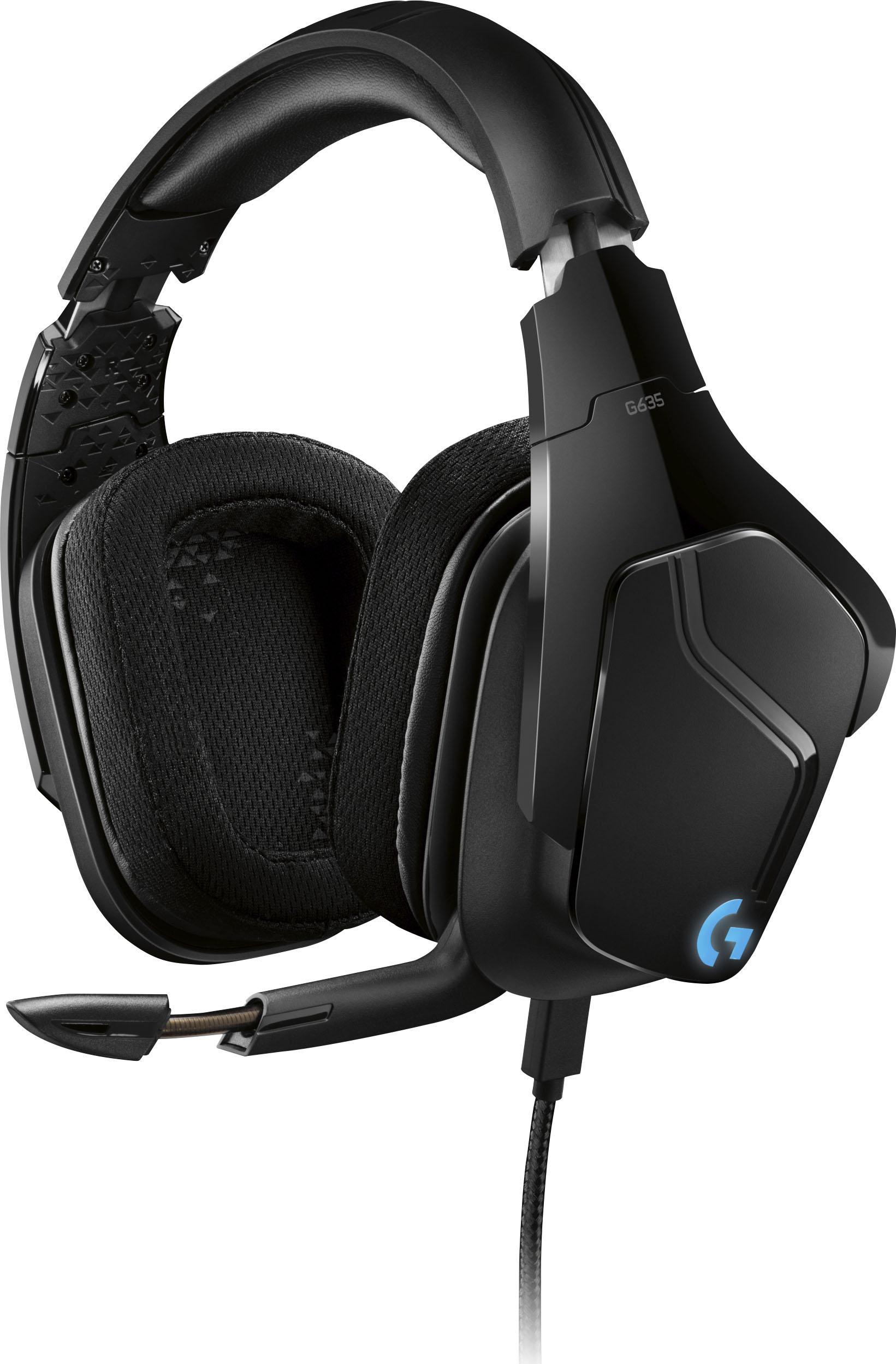 Led Light Up Gaming Headphones : light, gaming, headphones, Logitech, Wired, Surround, Sound, Gaming, Headset, LIGHTSYNC, Lighting, Black/Blue, 981-000748