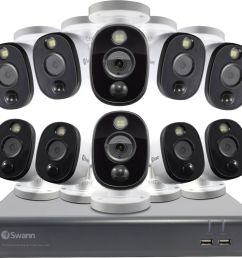 swann 16 channel 10 camera indoor outdoor wired 1080p 1tb dvr surveillance system black gray white swdvk 1645810wl us best buy [ 2569 x 2390 Pixel ]