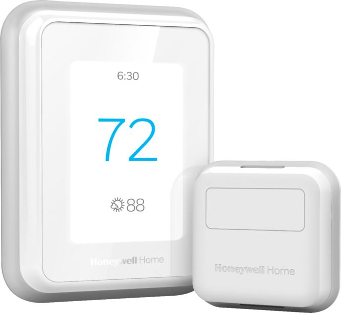 Zoom in on Front Zoom. Honeywell Home - T9 Smart Programmable Touch-Screen Wi-Fi Thermostat with Smart Room Sensor - White.