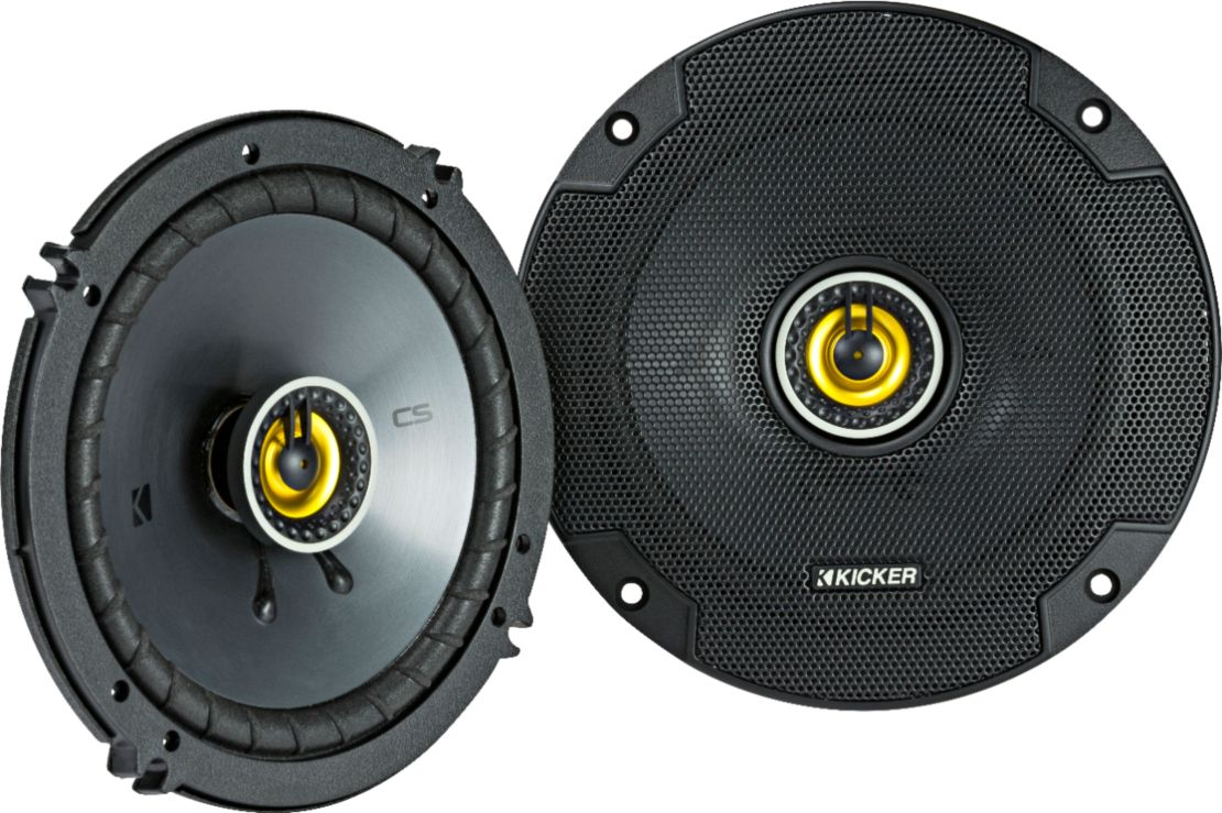 "KICKER - CS Series 6-1/2"" 2-Way Car Speakers with Polypropylene Cones (Pair) - Yellow/Black"
