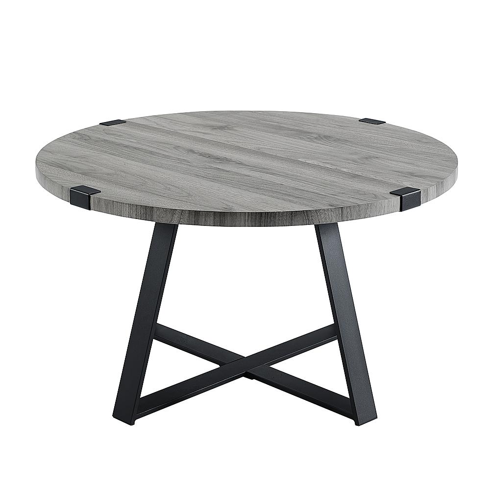 walker edison round rustic coffee table slate gray