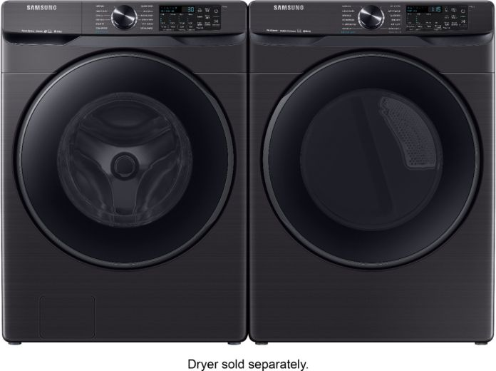 Samsung 5 0 Cu Ft High Efficiency Stackable Smart Front Load Washer With Steam Black Stainless Steel Wf50r8500av Best Buy