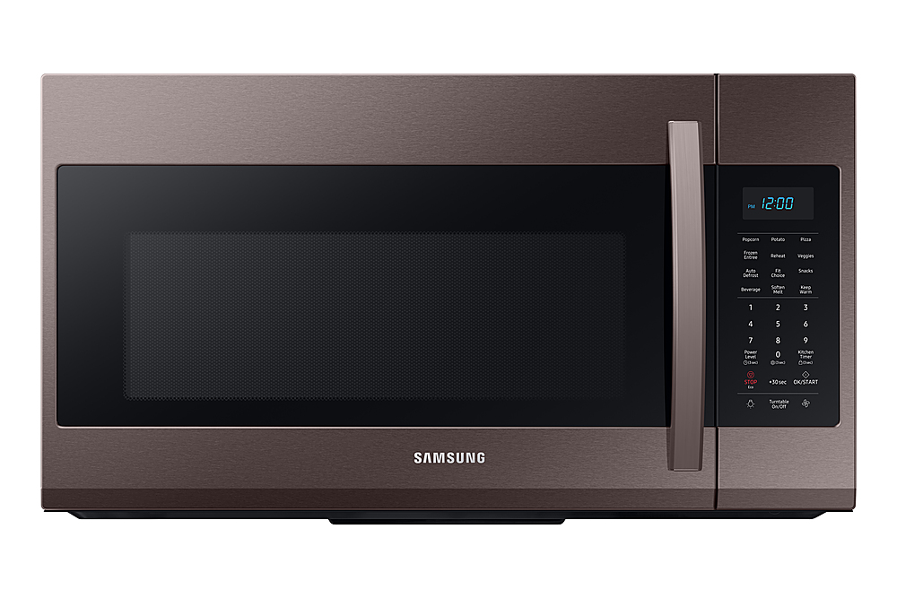 samsung 1 9 cu ft over the range microwave with sensor cook fingerprint resistant tuscan stainless steel