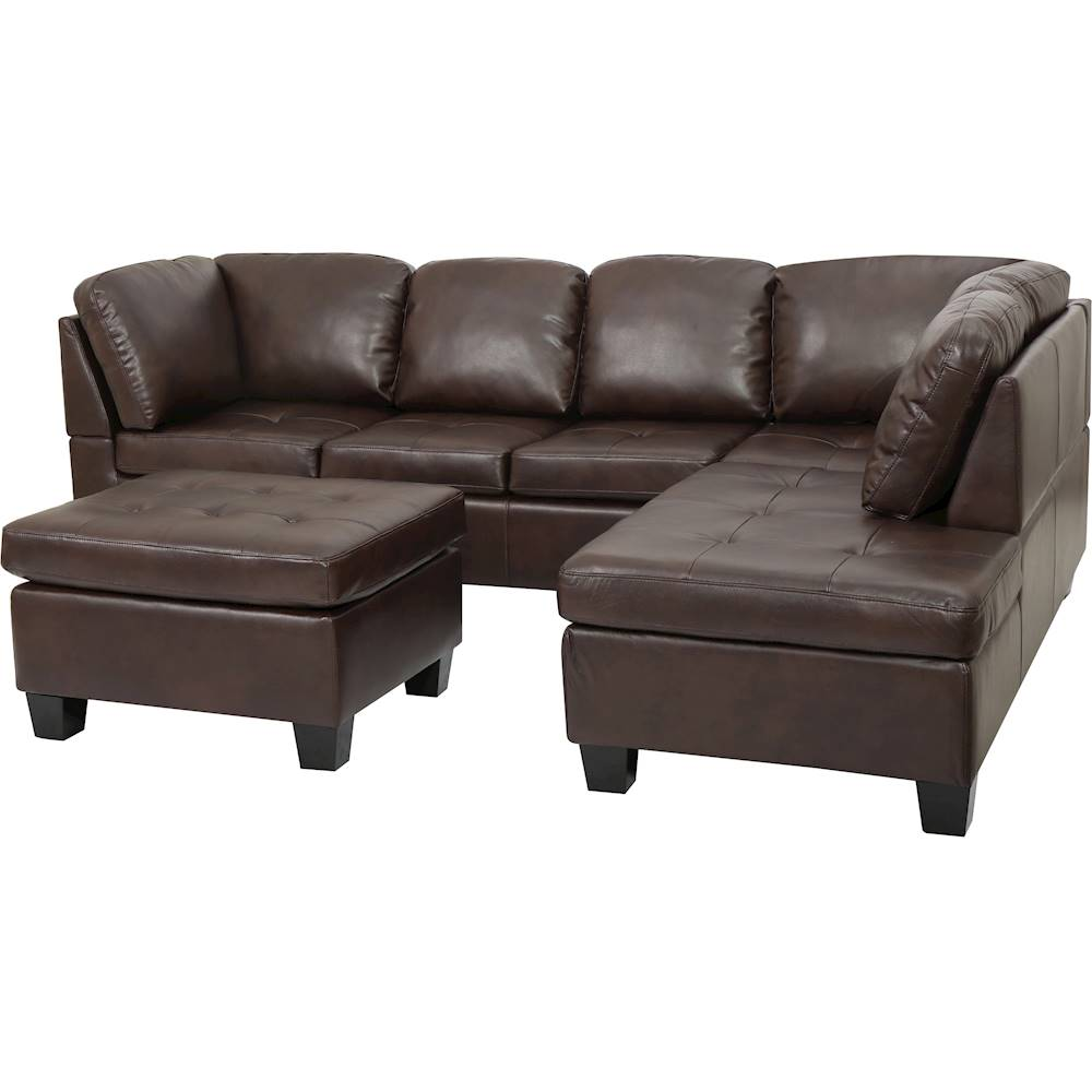 noble house fayette 2 piece sectional sofa with ottoman brown