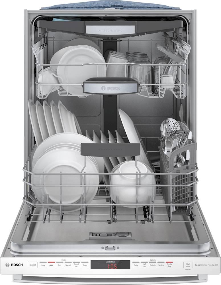 Bosch Dishwasher Top Rack : bosch, dishwasher, Bosch, Series, Control, Built-In, Dishwasher, CrystalDry,, Stainless, Steel, Rack,, White, SHXM78Z52N