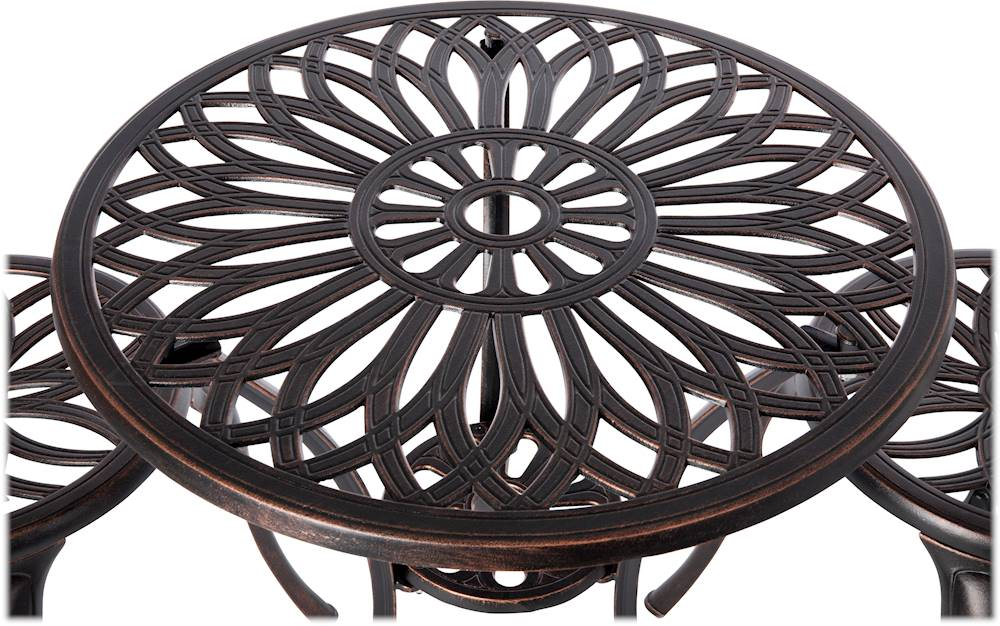 patio sense theon outdoor cast aluminum 3 piece bistro set antique bronze