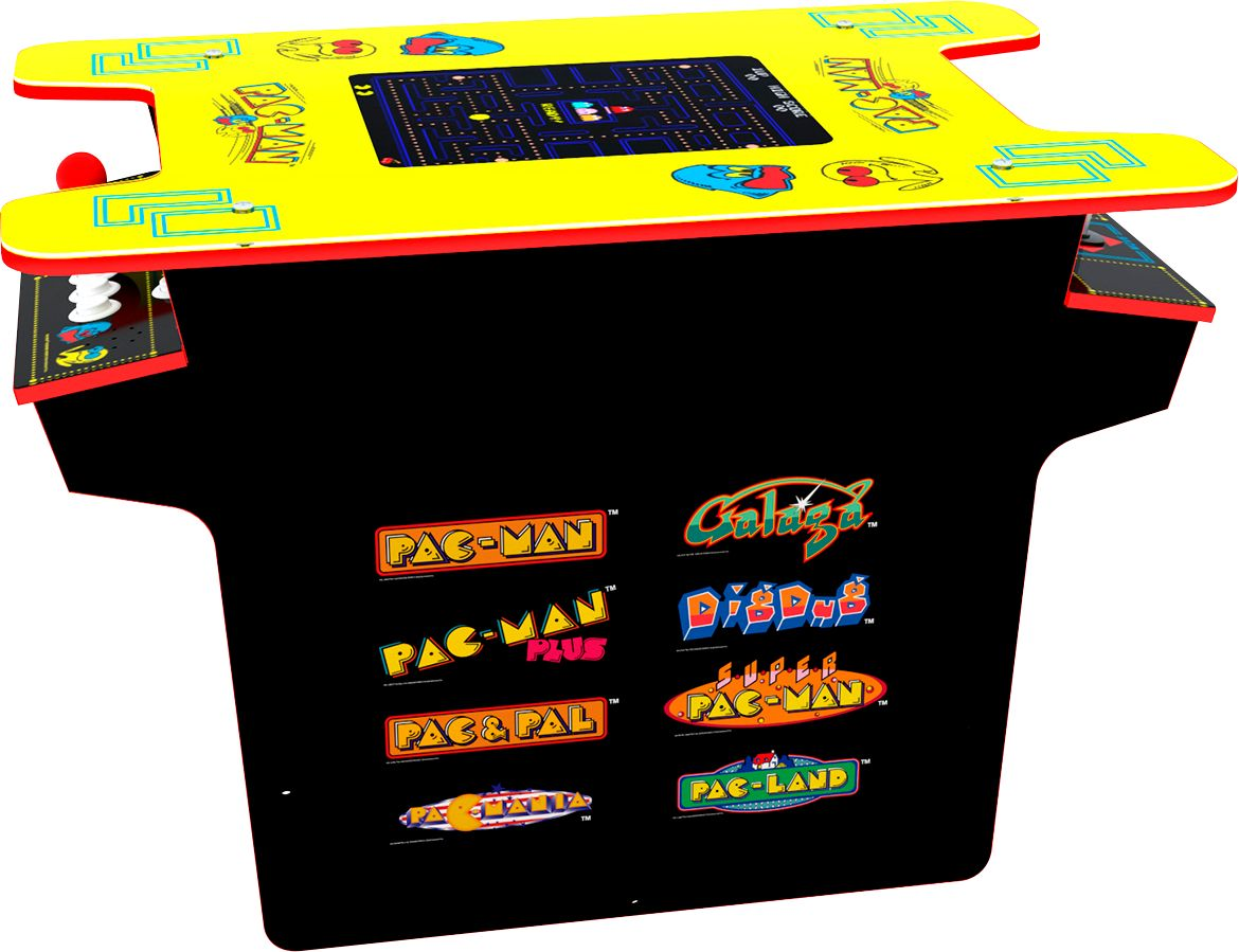 arcade1up deluxe 8 in 1 head to head cocktail table with pac man and galaga black