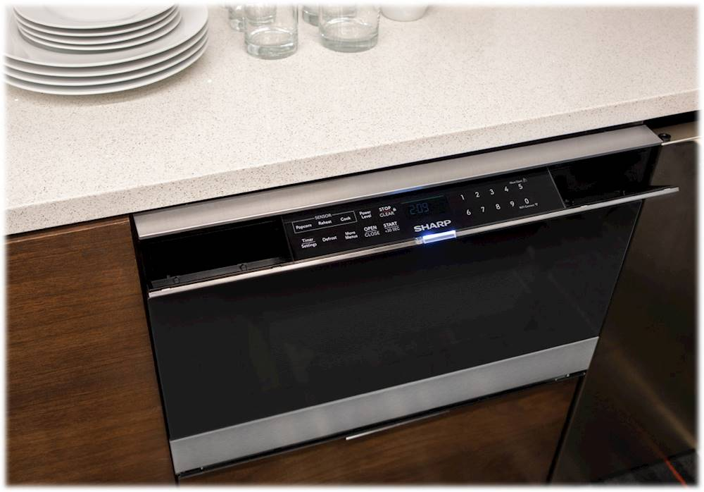 sharp 1 2 cu ft microwave drawer with internet mobile applications and easy wave open stainless steel with black glass