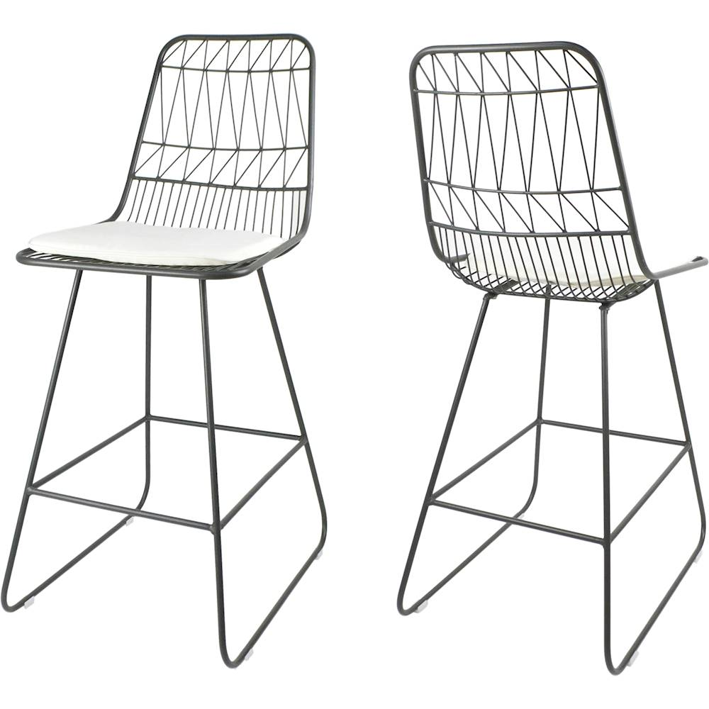 Noble House Polyester and Iron Barstools (Set of 2) Gray