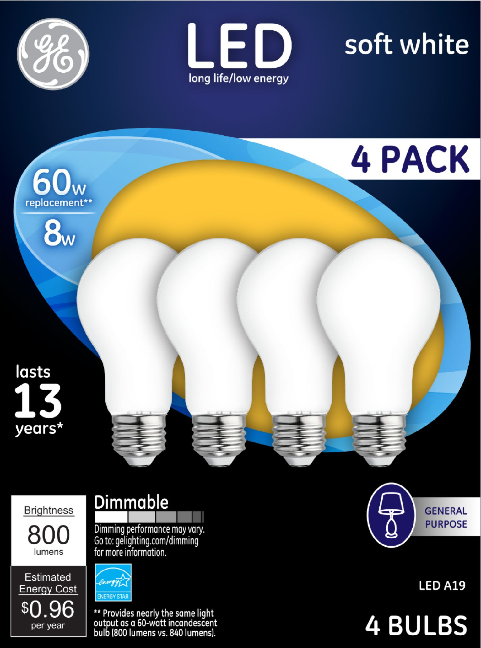 general electric ge 800 lumen 8w dimmable a19 led light bulb 60w equivalent 4 pack