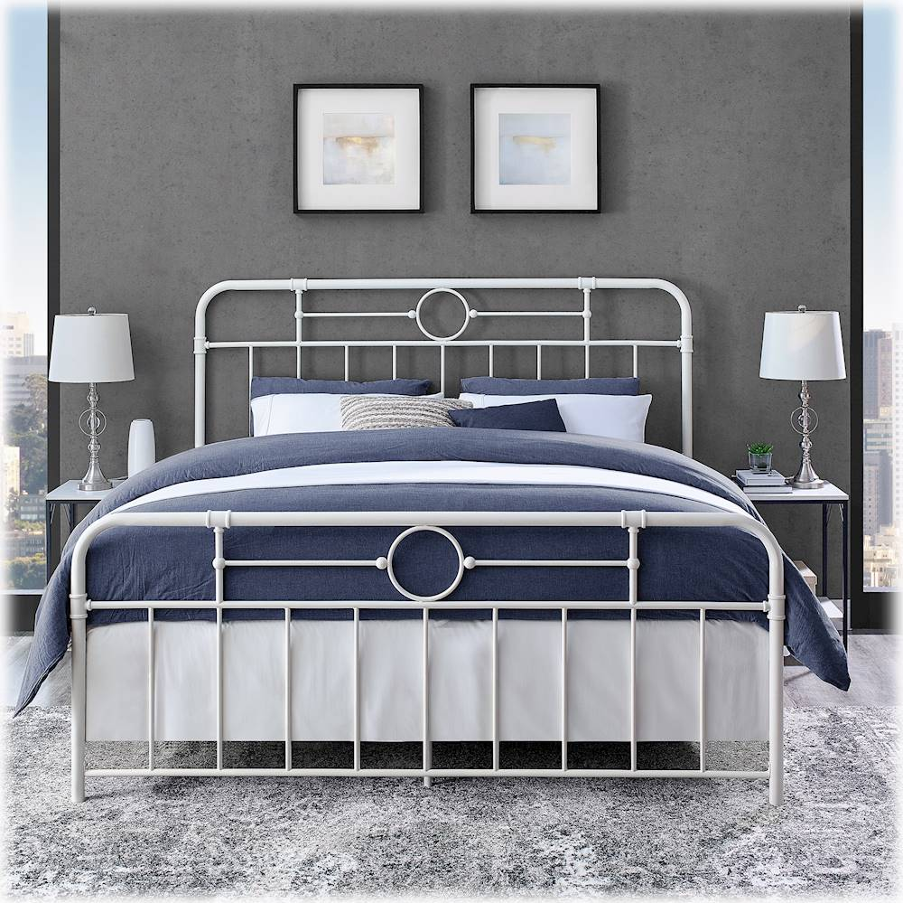 walker edison 79 king size pipe bed frame antique white