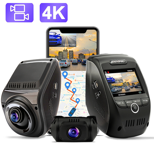 Rexing - V1P Max Real 4K UHD Dual-Channel Front and Rear Wi-Fi Dash Camera - Black