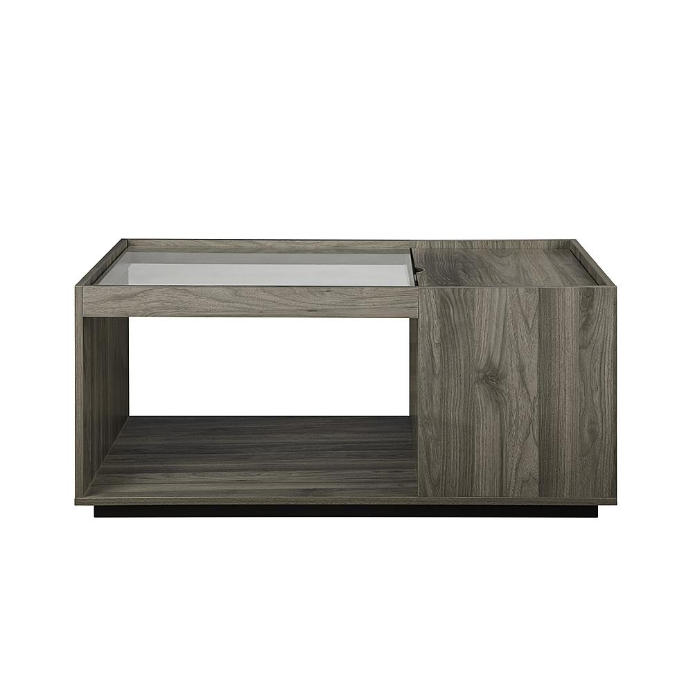 walker edison talia 40 glass top storage coffee table slate grey