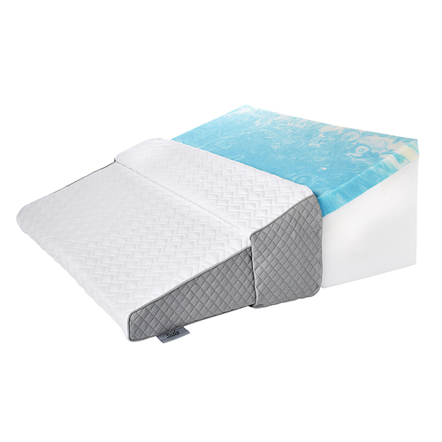 gel memory foam wedge pillow white gray