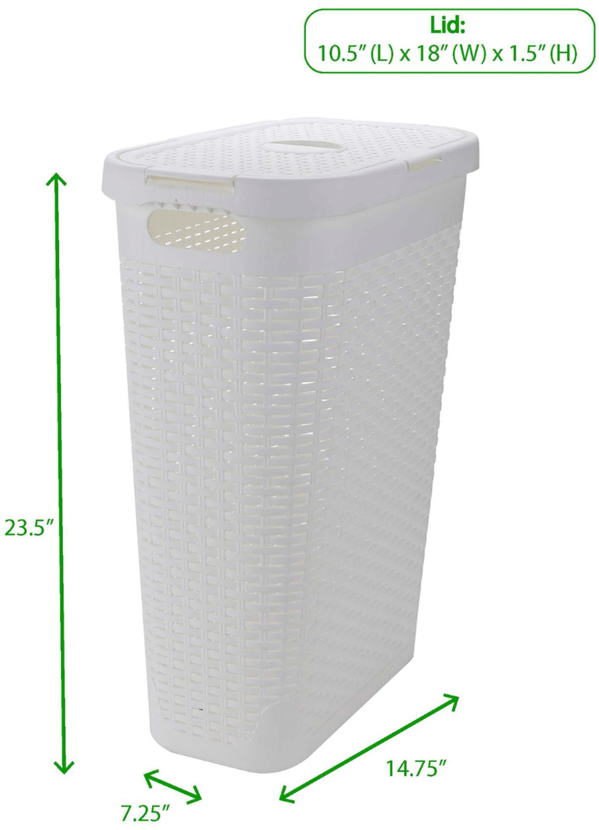 Mind Reader 40 Liter Slim Laundry Basket Laundry Hamper With Cutout Handles Washing Bin Dirty Clothes Storage White Tbhamp40 Wht Best Buy