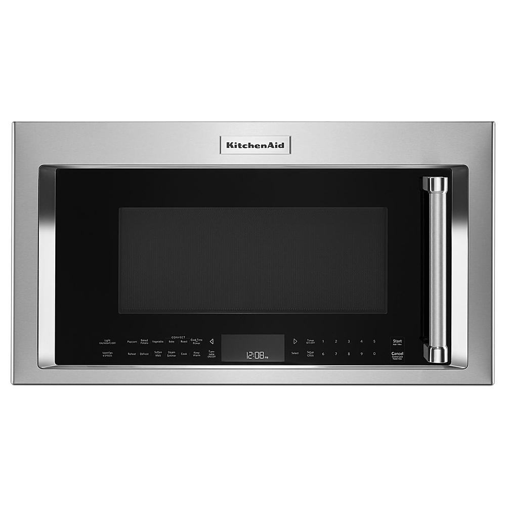 kitchenaid 1 9 cu ft convection over the range microwave with sensor cooking and simmer cook cycle with steamer container printshield stainless