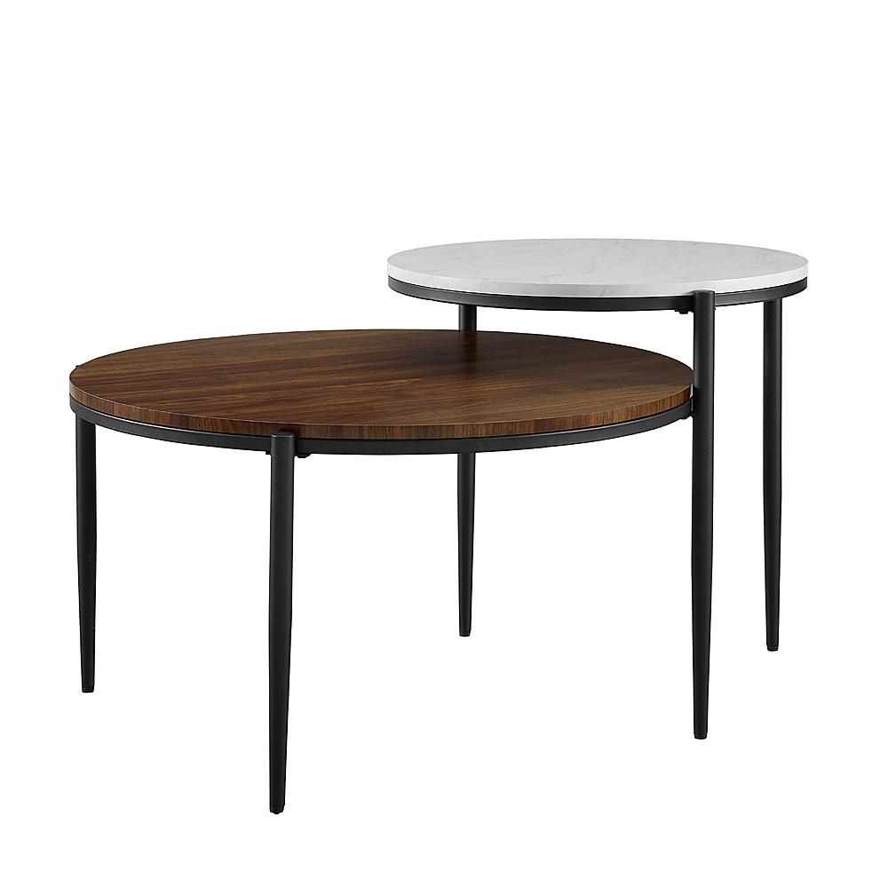 walker edison ella round tiered two tone coffee table faux white marble dark walnut