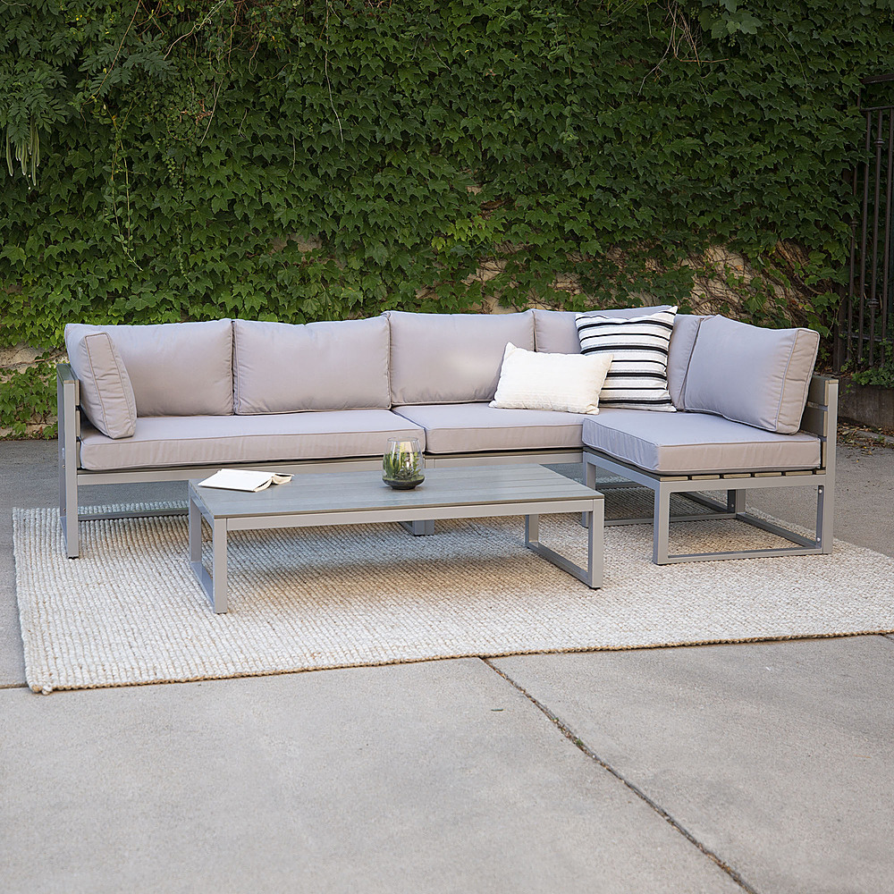 walker edison modern 4 piece patio sectional grey