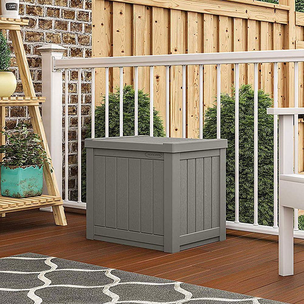 suncast small resin outdoor patio storage deck box stoney