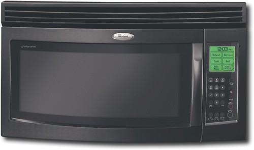 whirlpool gold 1 7 cu ft over the range microwave with hood black on black