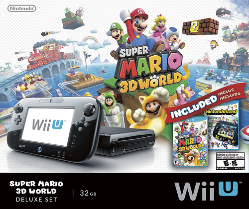 Nintendo - Wii U 32GB Console Super Mario 3D World and Nintendo Land Bundle - Black - Larger Front