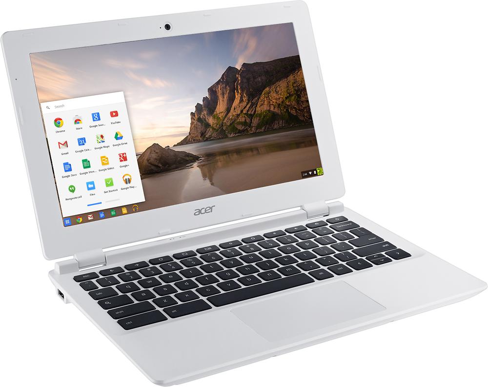 "Acer - 11.6"" Chromebook - Intel Celeron - 2GB Memory - 16GB eMMC Flash Memory - Moonstone White - Angle Zoom"