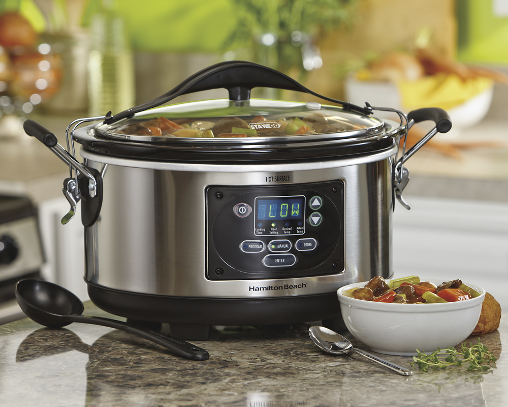 hight resolution of best buy hamilton beach set forget stay or go 6 quart slow cooker metallic 33967