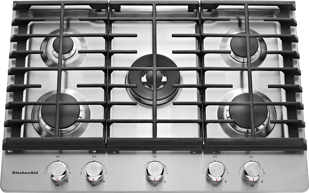 kitchen aid cooktop country faucets kitchenaid 30 built in gas silver kcgs550ess best buy stainless steel front zoom