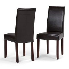 Faux Leather Dining Chairs Chaise Lounge For Outside Simpli Home Acadian Parson Polyurethane Set Of 2