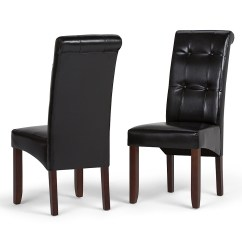 Parson Chairs Cheap Lazy Boy Rocker Recliner Swivel Dining Room Best Buy Simpli Home Cosmopolitan Delux Tufted Faux Leather Chair Set Of 2 Midnight Black