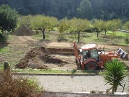 Excavación para la construcción de una piscina