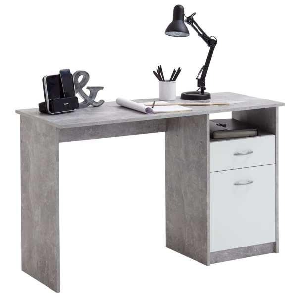 FMD Birou cu 1 sertar, gri beton și alb, 123 x 50 x 76,5 cm