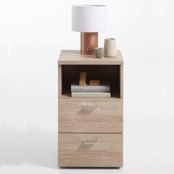 FMD Noptieră cu 2 sertare și raft deschis, culoare stejar