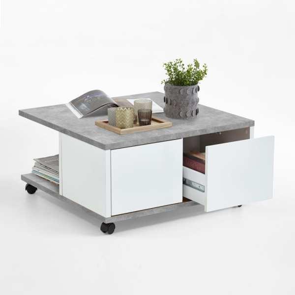 FMD Măsuță de cafea mobilă, gri beton & alb extralucios, 70x70x35,5 cm