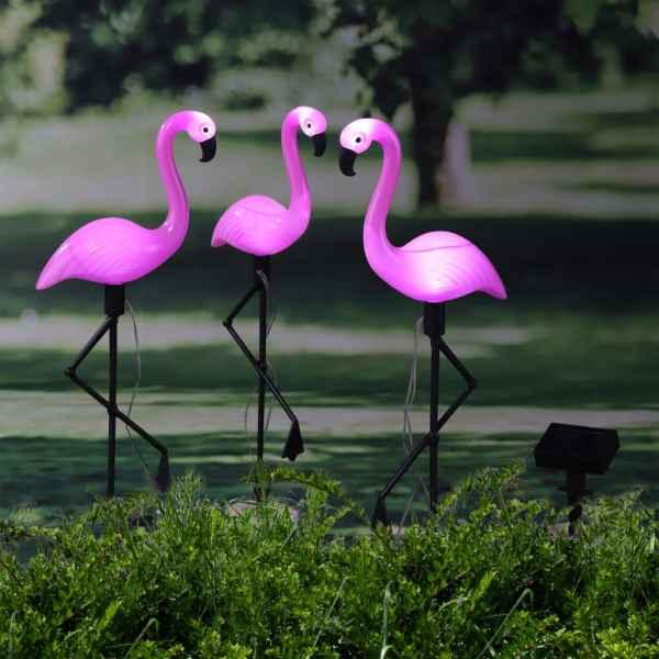 HI Lampă solară de grădină cu LED și țăruș, flamingo, 3 buc.