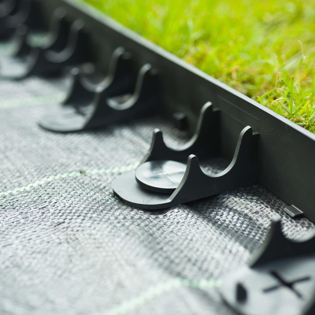 Nature Margine bordură de grădină și țăruși de fixare, negru