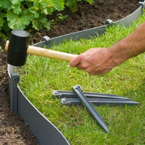 Nature Țăruși de fixare pentru grădină, 10 buc., gri