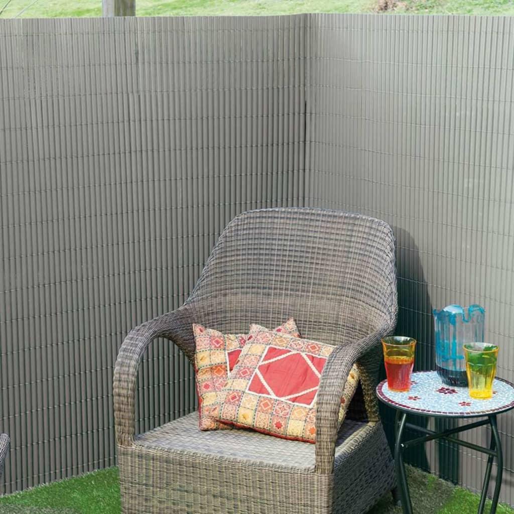 Nature Paravan de grădină cu două fețe, gri, 1,5 x 3 m, PVC