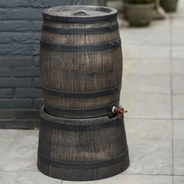 Nature Suport butoi apă de ploaie cu aspect de lemn, maro, 45×28,5 cm