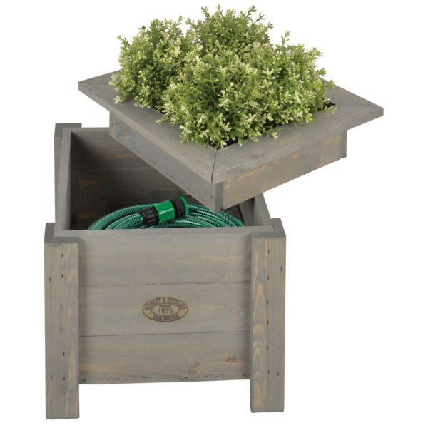 Esschert Design Jardinieră 2 în 1 cu depozitare pentru furtun NG47