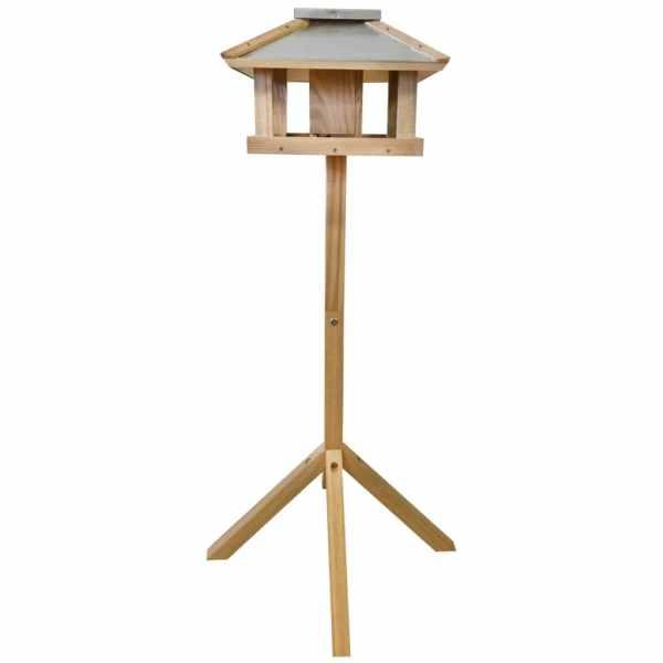 Esschert Design Hrănitor păsări pătrat cu acoperiș de oțel FB433