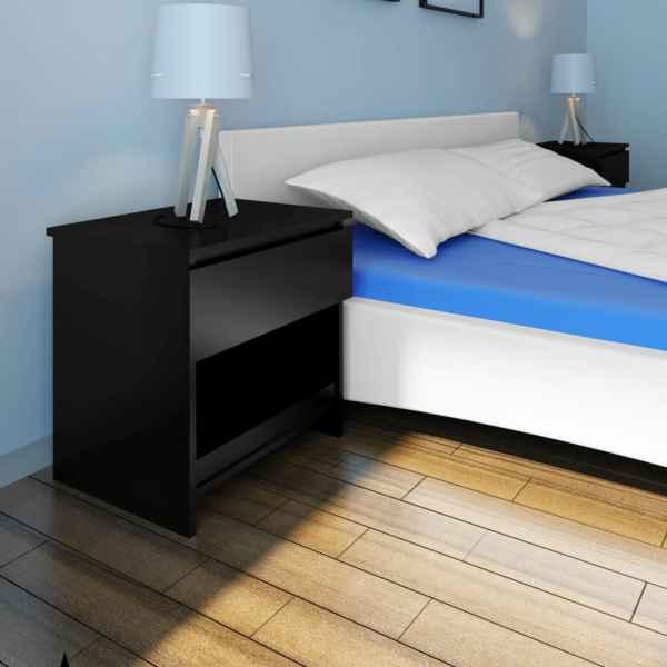 vidaXL Noptieră cu un sertar, negru, 2 buc.