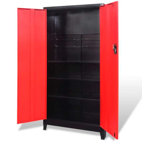 vidaXL Dulap scule cu 2 uși, oțel, 90 x 40 x 180 cm, negru și roșu