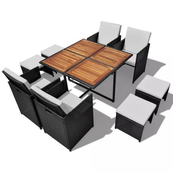 vidaXL Set mobilier de exterior, 9 piese negru, poliratan, lemn acacia