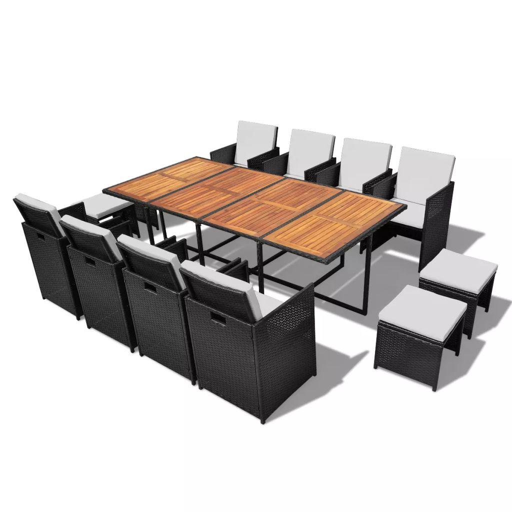 vidaXL Set mobilier de exterior 13 piese negru, poliratan, lemn acacia