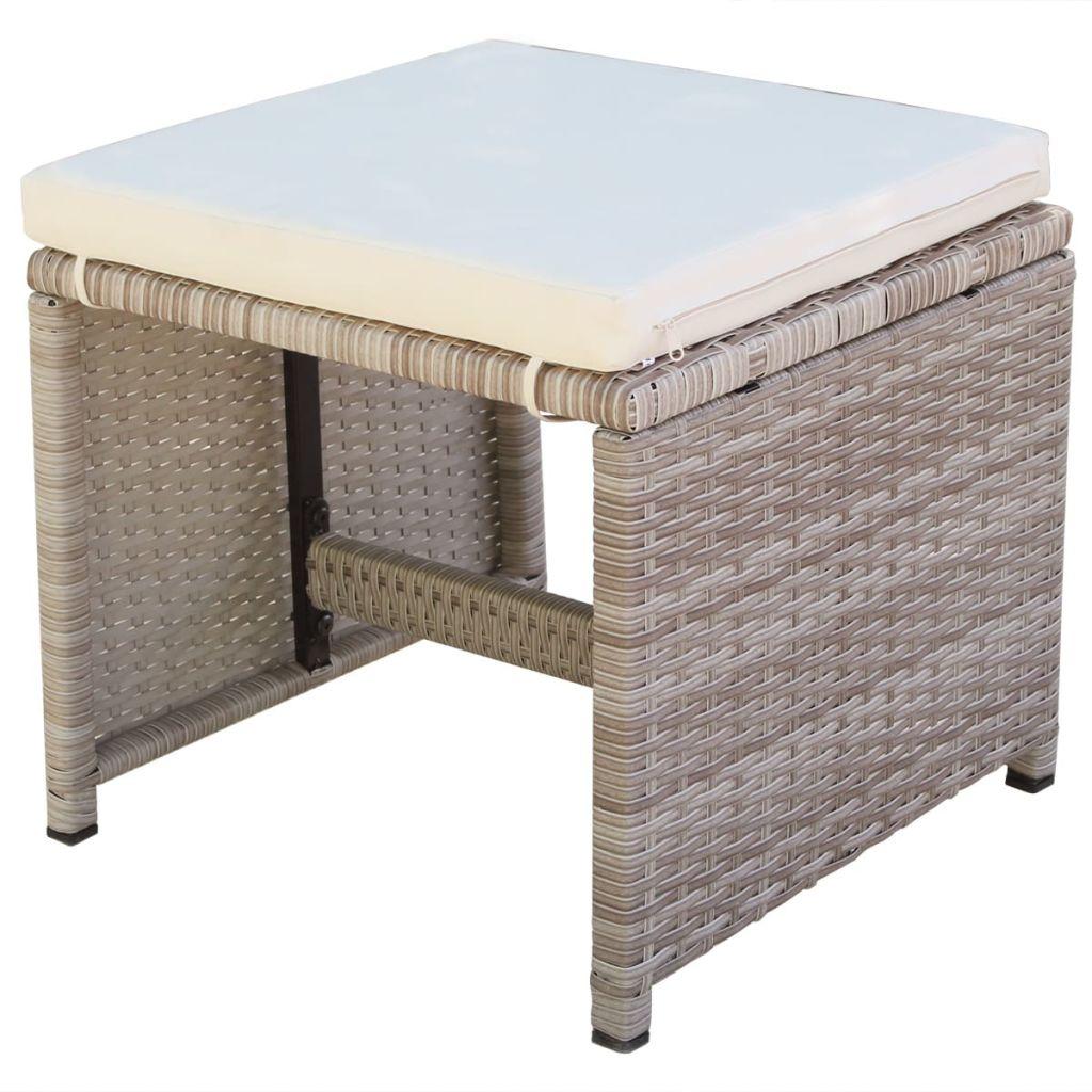 Set mobilier de exterior cu perne, 5 piese, bej, poliratan