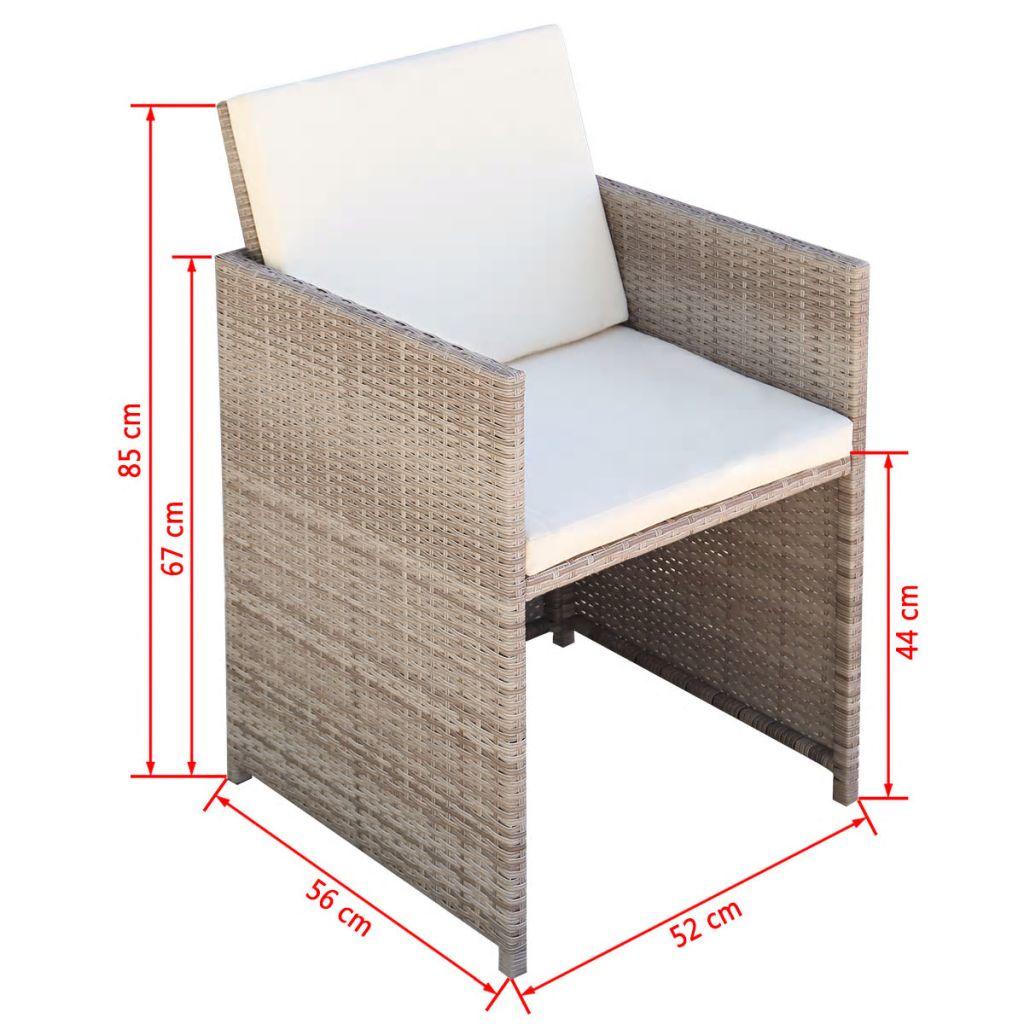 Set mobilier de exterior cu perne, 9 piese, bej, poliratan